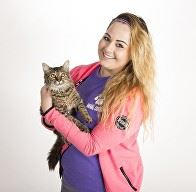 An animal shelter worker holds a cat