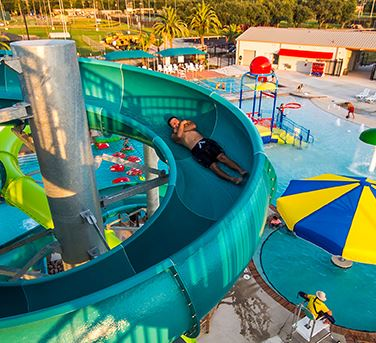 Person going down a waterslide