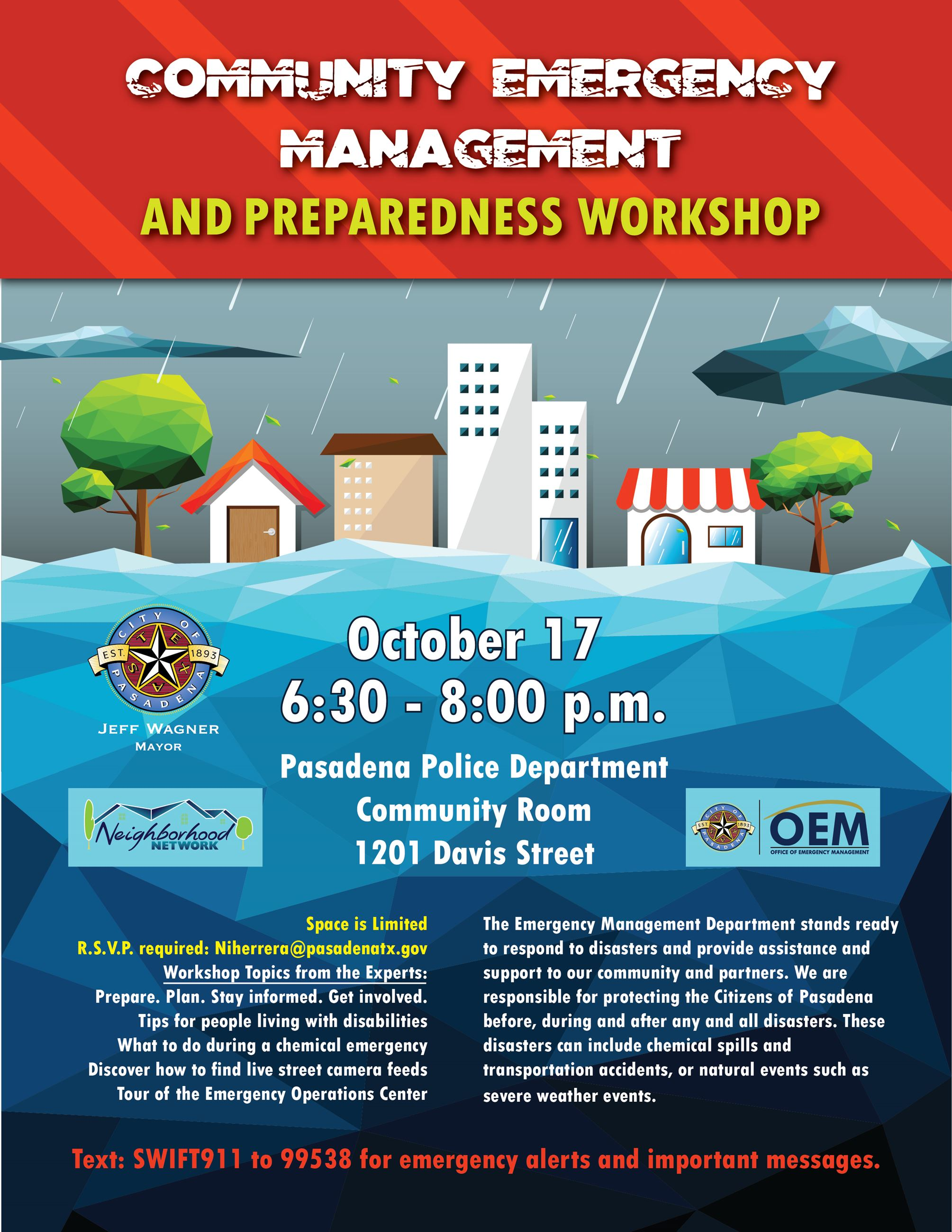 Flier Community Emergency Management and Preparedness Workshop