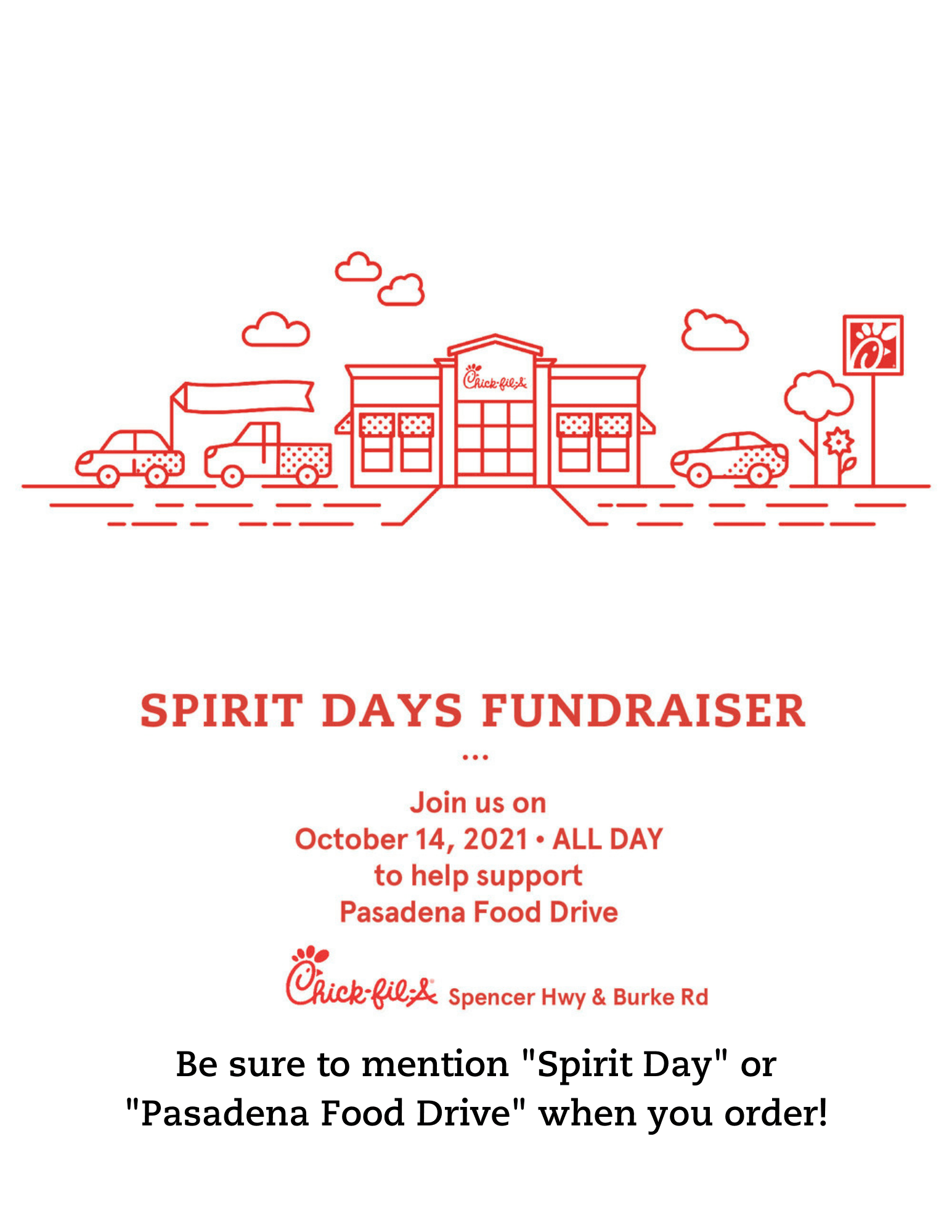 Spencer Chick-fil-A fundraiser for the Pasadena Food Drive