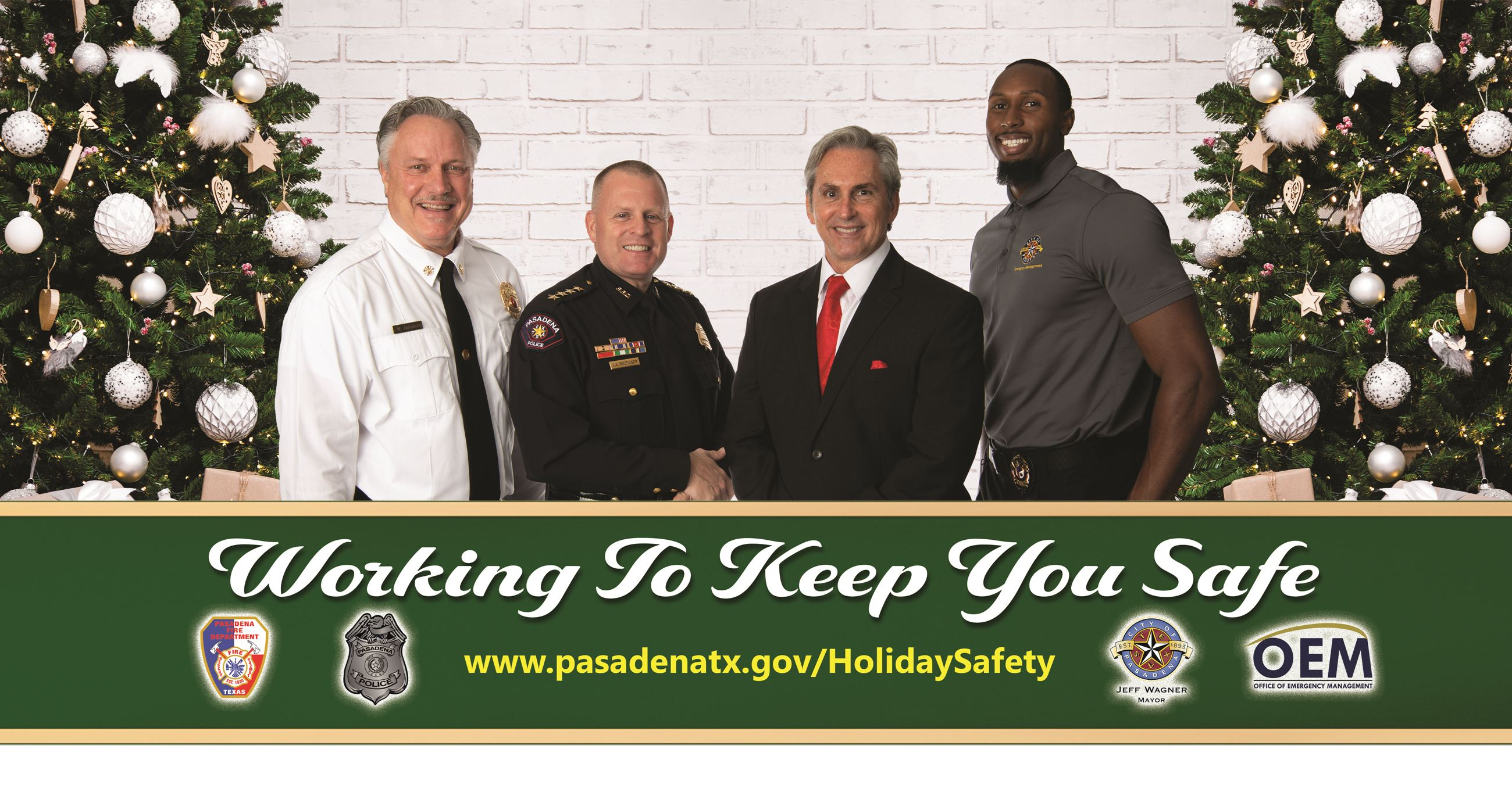 police chief, mayor, fire chief, and deputy emergency management director (Holiday safety message)