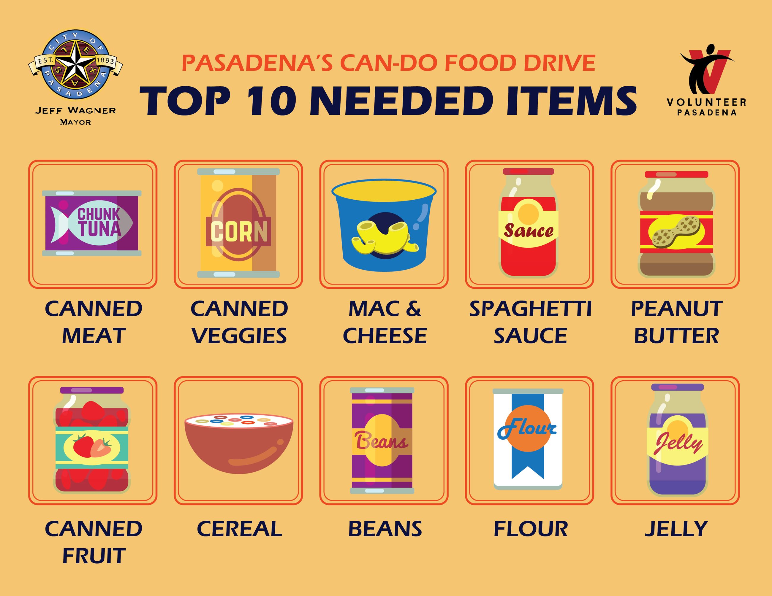 Top 10 Needed Foods for the Can-Do Food Drive